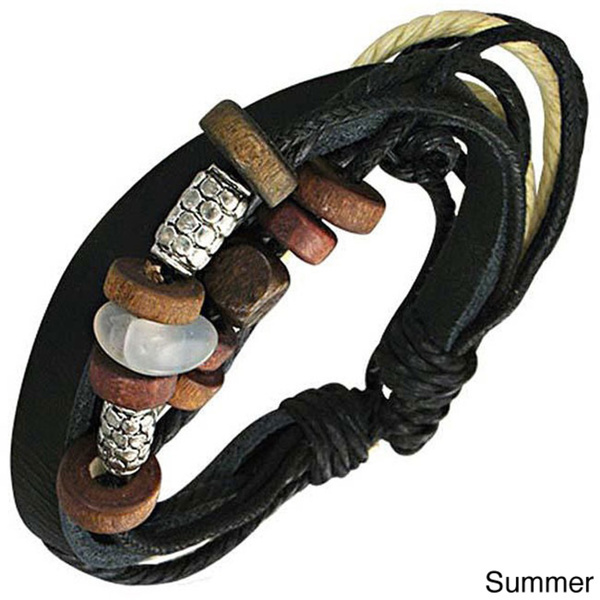 Leather and Wood 'Summer Solstice' Bracelet