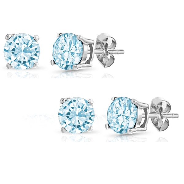 Pori Set of 2 Pairs Sterling Silver 2ct Genuine Blue Topaz Stud Earrings