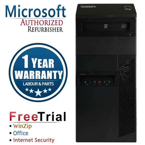Refurbished Lenovo ThinkCentre M90P Tower Intel Core I5 650 3.2G 4G DDR3 500G DVDRW Win 7 Pro 1 Year Warranty - Black