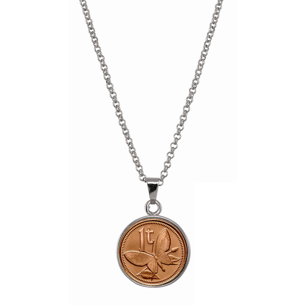 American Coin Treasures Women's Silvertone Brass Butterfly Coin Pendant Necklace