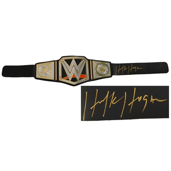 Hulk Hogan Signed WWE World Heavyweight Champion Black Replica Belt