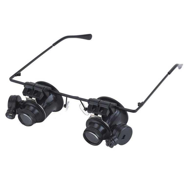 Magnifying Glass 20X Glasses Type Binocular Magnifier Watch Repair Tool With Two Led Lights